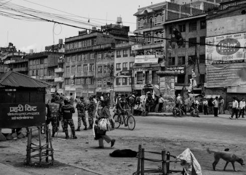 Police & Maoists.Banepa. John Callaway 2010