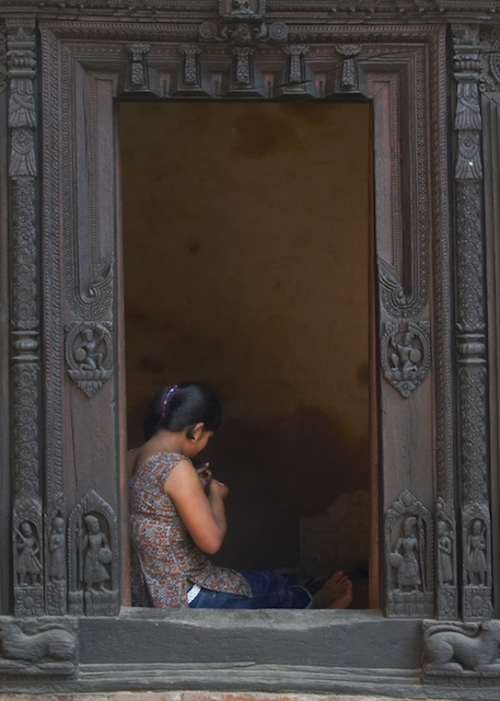 Woman in doorway, Patan