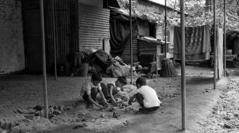 Children playing. Lainchaur, Kathmandu. John Callaway 2010