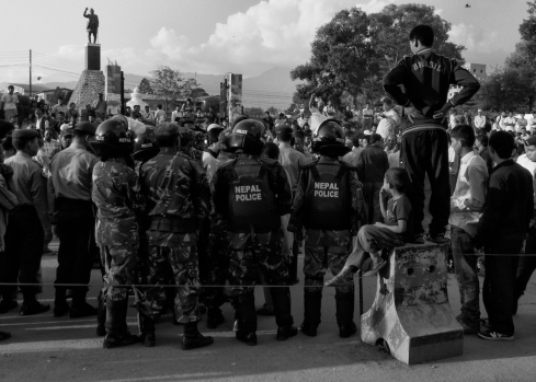 Police & Boy, Rally, Ratna Park.(May 2010). John Callaway 2010