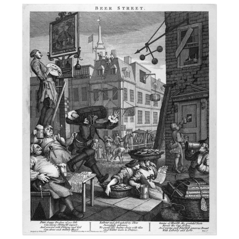 """Beer Street"". William Hogarth (1751) (c) British Museum"