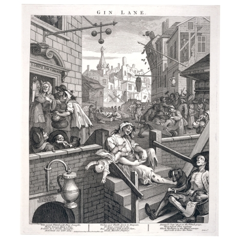 """Gin Lane"" William Hogarth (1751). (c) British Museum"